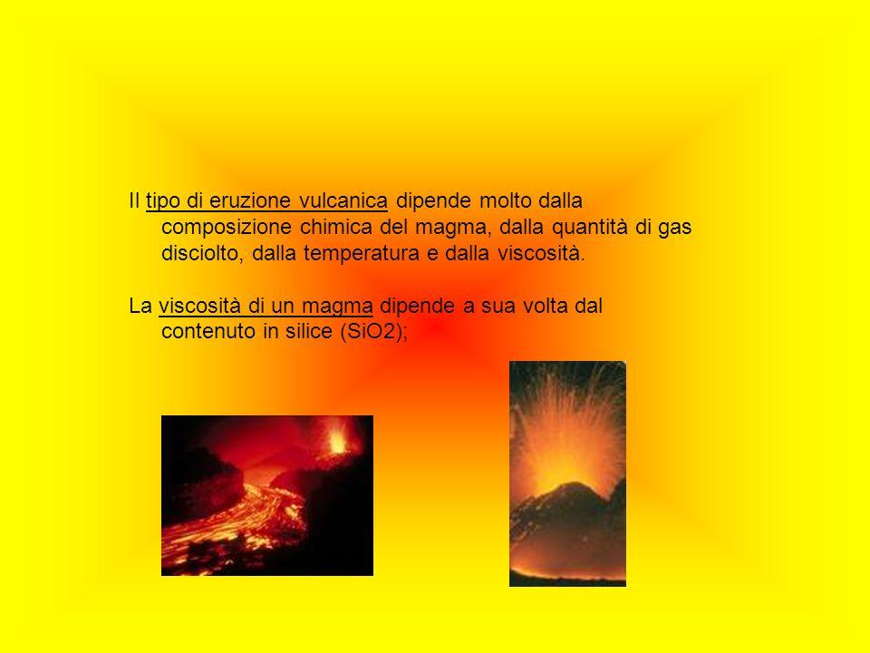 Il tipo di eruzione vulcanica dipende molto dalla composizione chimica del magma, dalla quantità di gas disciolto, dalla temperatura e dalla viscosità