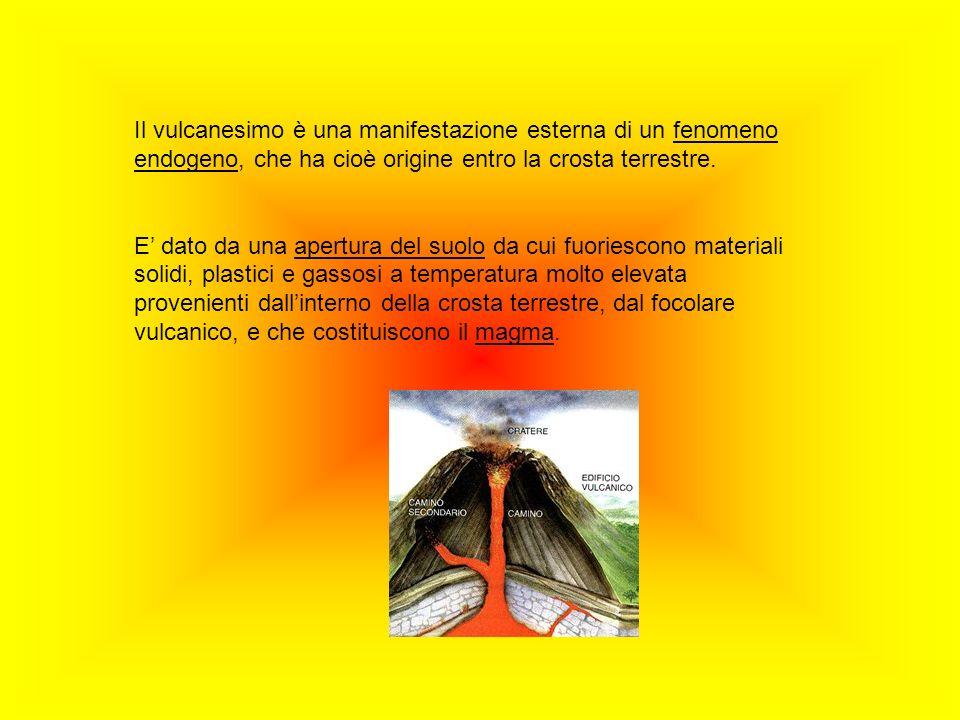 Il vulcanesimo è una manifestazione esterna di un fenomeno endogeno, che ha cioè origine entro la crosta terrestre. E dato da una apertura del suolo d