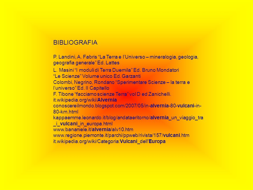BIBLIOGRAFIA P. Landini, A. Fabris La Terra e lUniverso – mineralogia, geologia, geografia generale Ed. Lattes L. Masini I moduli di Terra Duemila Ed.