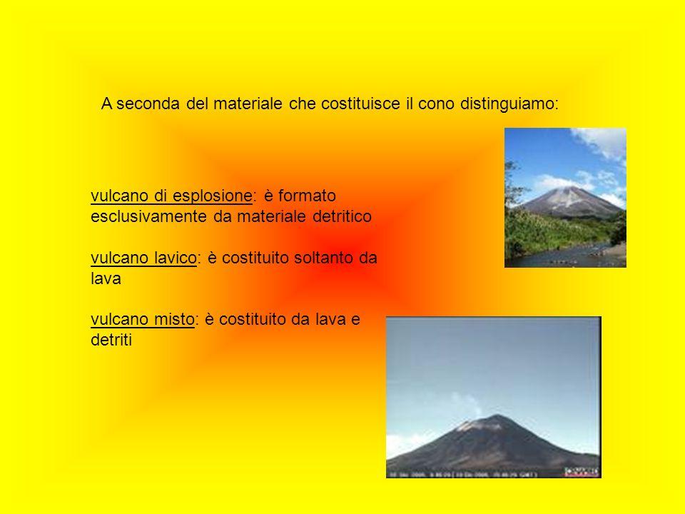 A seconda del materiale che costituisce il cono distinguiamo: vulcano di esplosione: è formato esclusivamente da materiale detritico vulcano lavico: è