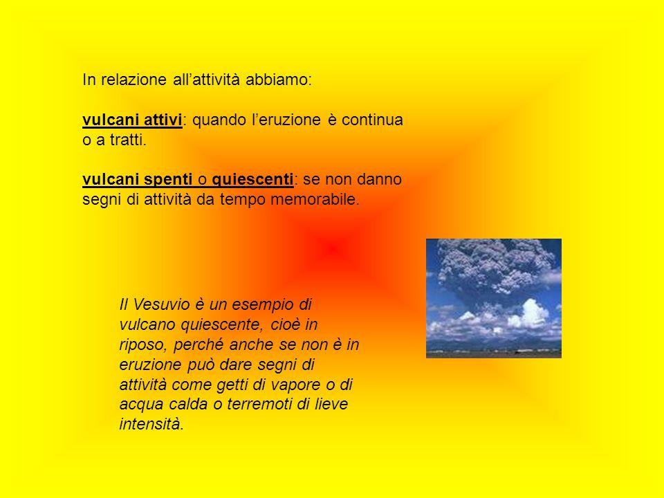 In relazione allattività abbiamo: vulcani attivi: quando leruzione è continua o a tratti. vulcani spenti o quiescenti: se non danno segni di attività