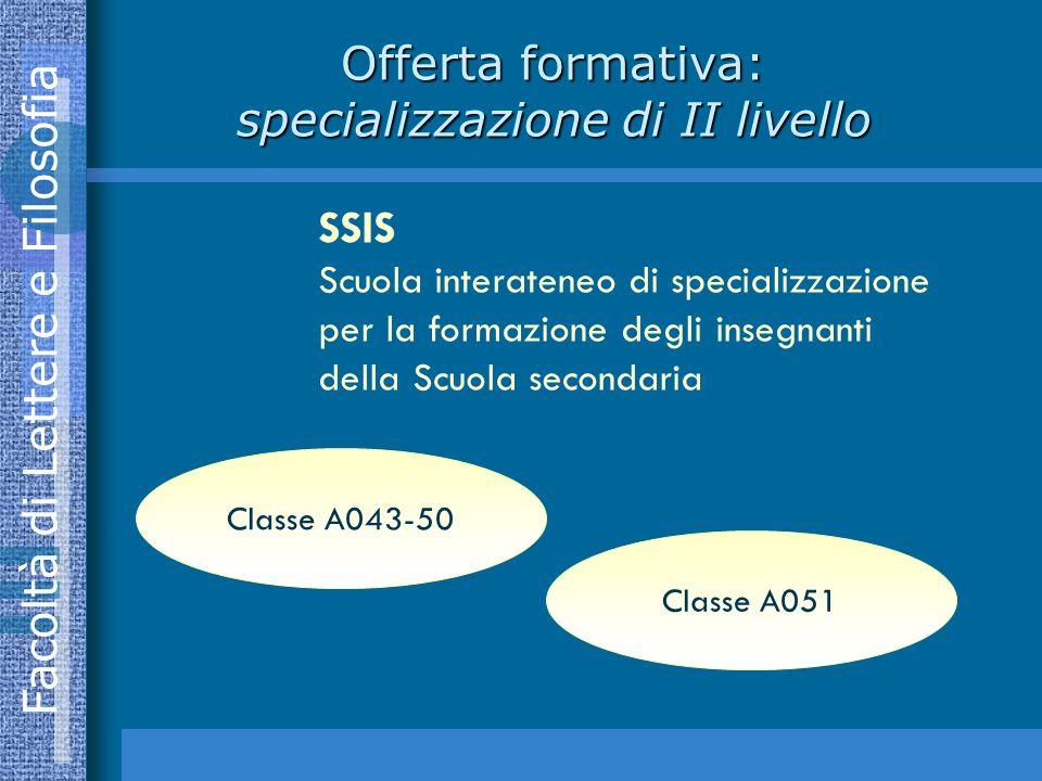 Facoltà di Lettere e Filosofia Offerta formativa: specializzazione di II livello Classe A043-50 Classe A051 SSIS Scuola interateneo di specializzazione per la formazione degli insegnanti della Scuola secondaria