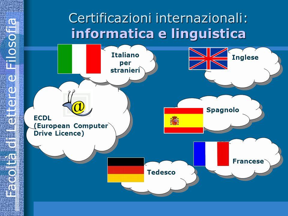 Facoltà di Lettere e Filosofia Certificazioni internazionali: informatica e linguistica ECDL (European Computer Drive Licence) Inglese Spagnolo Tedesco Francese Italiano per stranieri