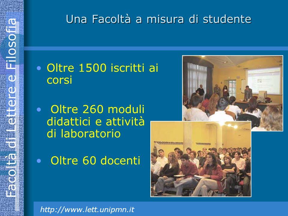 Facoltà di Lettere e Filosofia http://www.lett.unipmn.it Una Facoltà a misura di studente Oltre 1500 iscritti ai corsi Oltre 260 moduli didattici e attività di laboratorio Oltre 60 docenti
