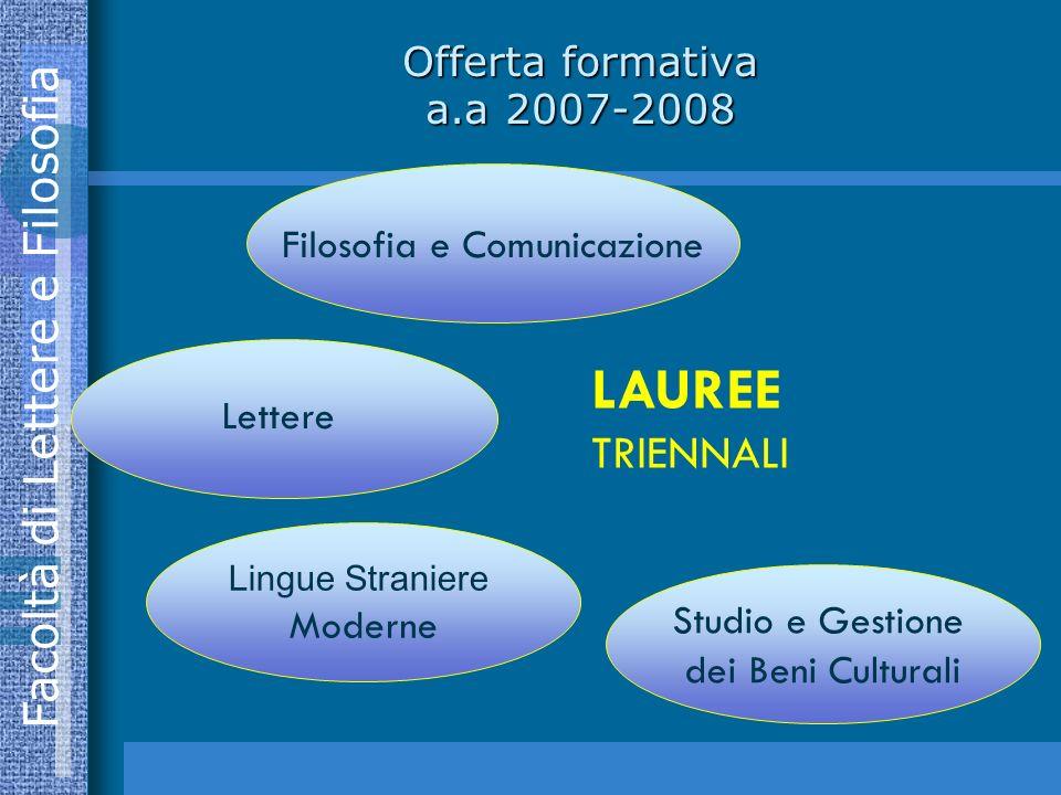 Facoltà di Lettere e Filosofia Offerta formativa a.a 2007-2008 Filosofia e Comunicazione Lettere Lingue Straniere Moderne Studio e Gestione dei Beni Culturali LAUREE TRIENNALI