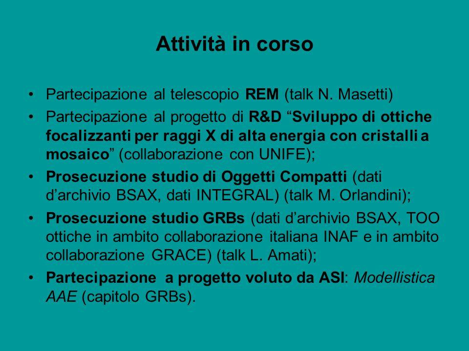 Attività in corso Partecipazione al telescopio REM (talk N. Masetti) Partecipazione al progetto di R&D Sviluppo di ottiche focalizzanti per raggi X di