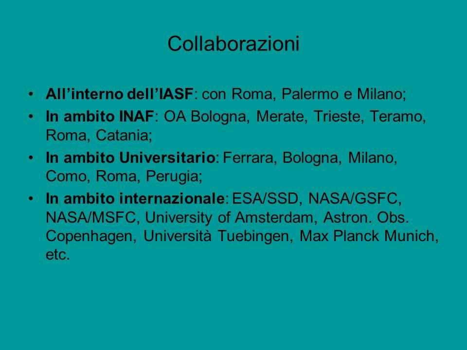 Collaborazioni Allinterno dellIASF: con Roma, Palermo e Milano; In ambito INAF: OA Bologna, Merate, Trieste, Teramo, Roma, Catania; In ambito Universi