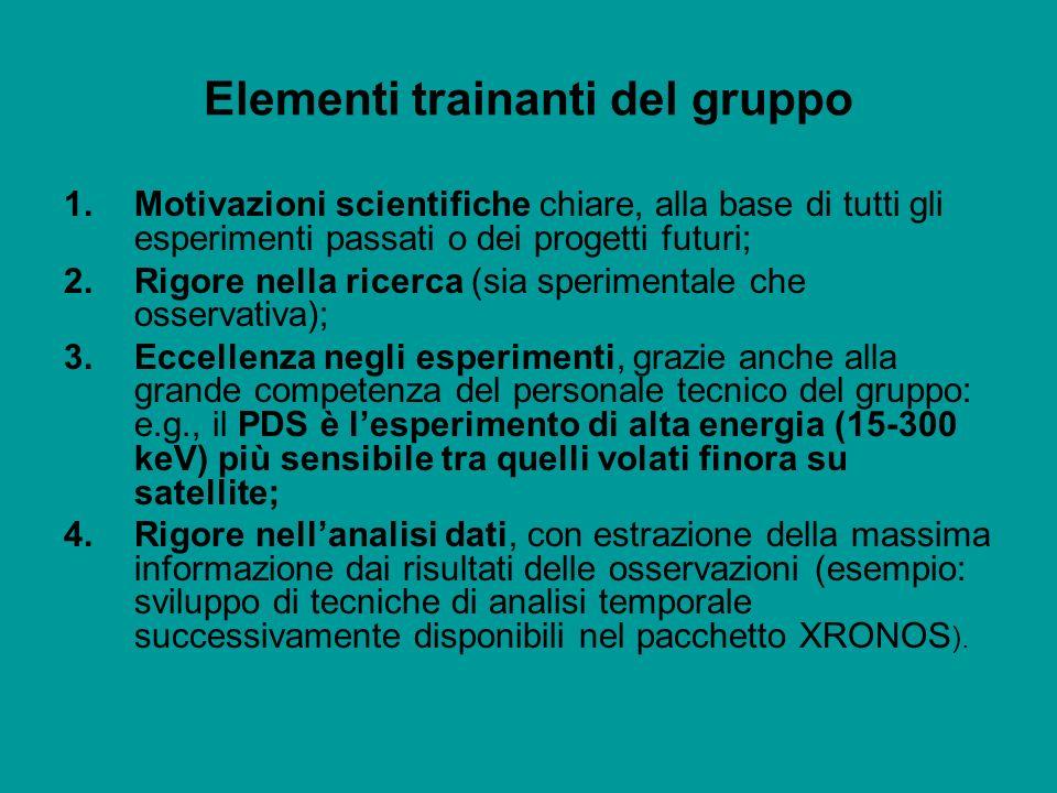 Elementi trainanti del gruppo 1.Motivazioni scientifiche chiare, alla base di tutti gli esperimenti passati o dei progetti futuri; 2.Rigore nella rice
