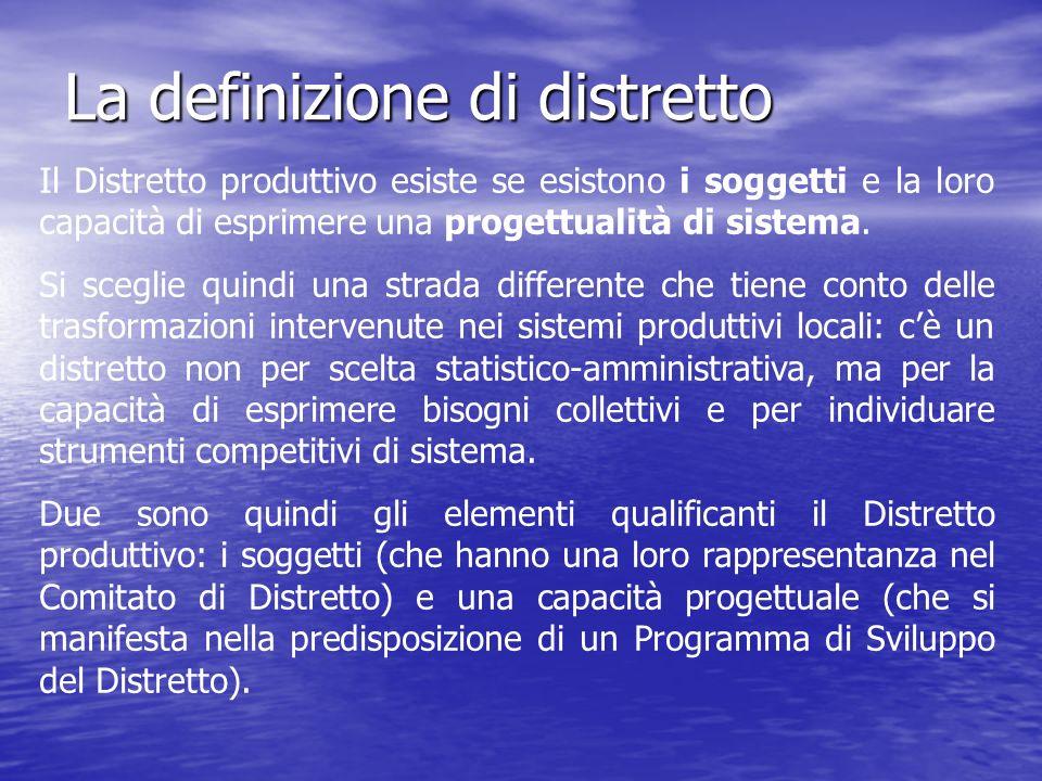 La definizione di distretto Il Distretto produttivo esiste se esistono i soggetti e la loro capacità di esprimere una progettualità di sistema.