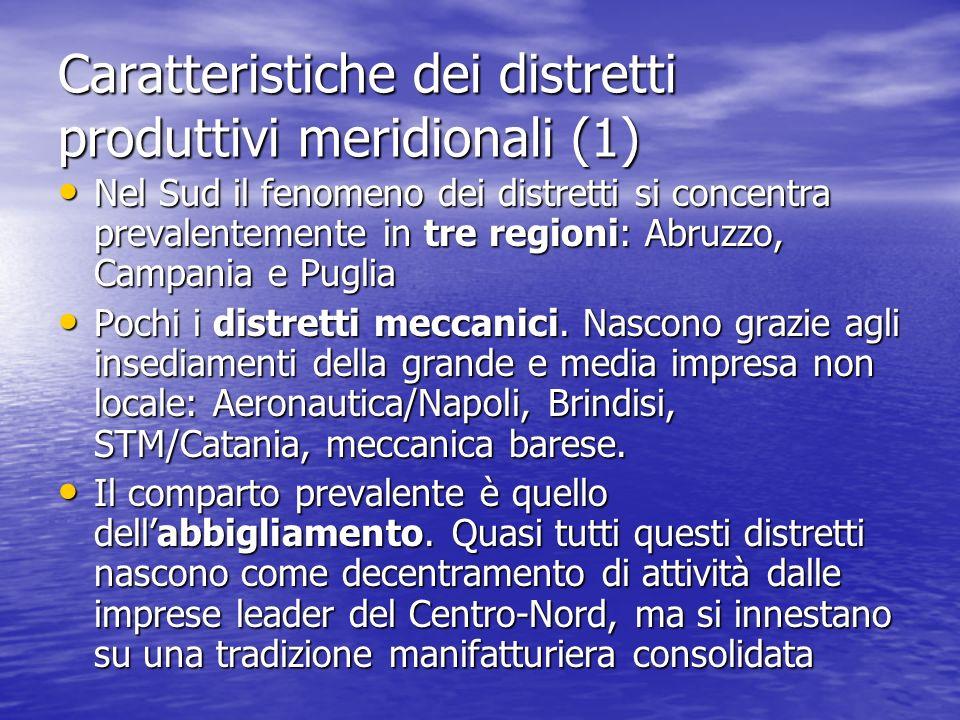 Caratteristiche dei distretti produttivi meridionali (1) Nel Sud il fenomeno dei distretti si concentra prevalentemente in tre regioni: Abruzzo, Campania e Puglia Nel Sud il fenomeno dei distretti si concentra prevalentemente in tre regioni: Abruzzo, Campania e Puglia Pochi i distretti meccanici.