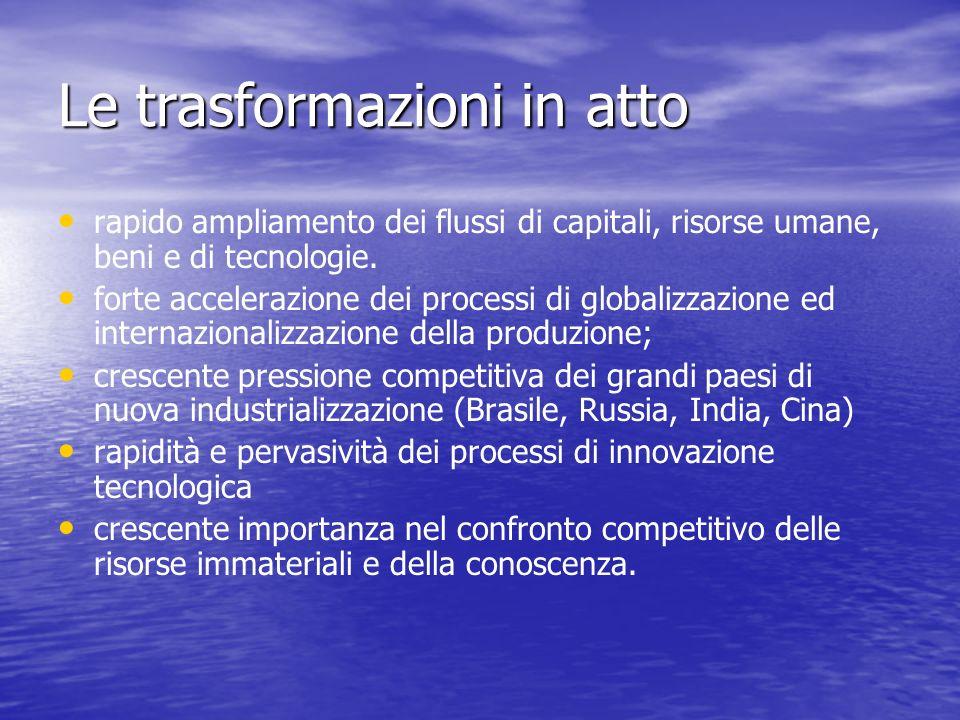 Le trasformazioni in atto rapido ampliamento dei flussi di capitali, risorse umane, beni e di tecnologie.