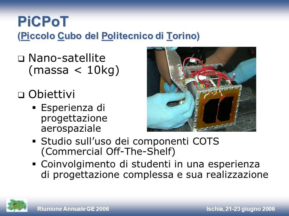 Ischia, 21-23 giugno 2006Riunione Annuale GE 2006 PiCPoT (Piccolo Cubo del Politecnico di Torino) Nano-satellite (massa < 10kg) Obiettivi Esperienza di progettazione aerospaziale Studio sulluso dei componenti COTS (Commercial Off-The-Shelf) Coinvolgimento di studenti in una esperienza di progettazione complessa e sua realizzazione