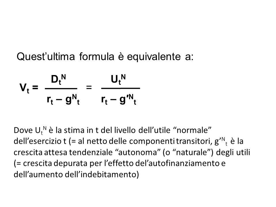 Questultima formula è equivalente a: V t = = D t N U t N r t – g N t r t – g N t Dove U t N è la stima in t del livello dellutile normale dellesercizio t (= al netto delle componenti transitori, g N t è la crescita attesa tendenziale autonoma (o naturale) degli utili (= crescita depurata per leffetto delautofinanziamento e dellaumento dellindebitamento)
