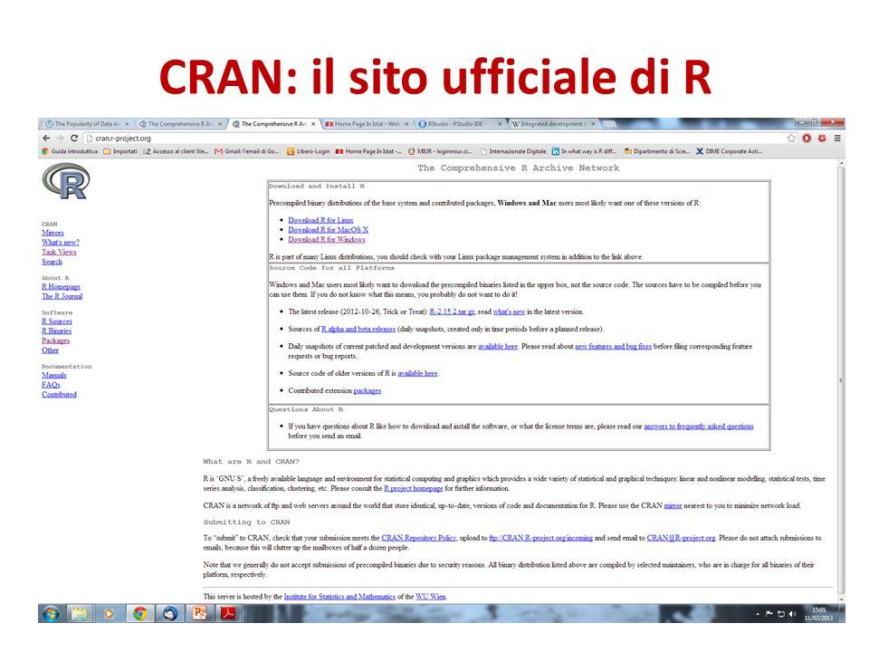 CRAN: il sito ufficiale di R