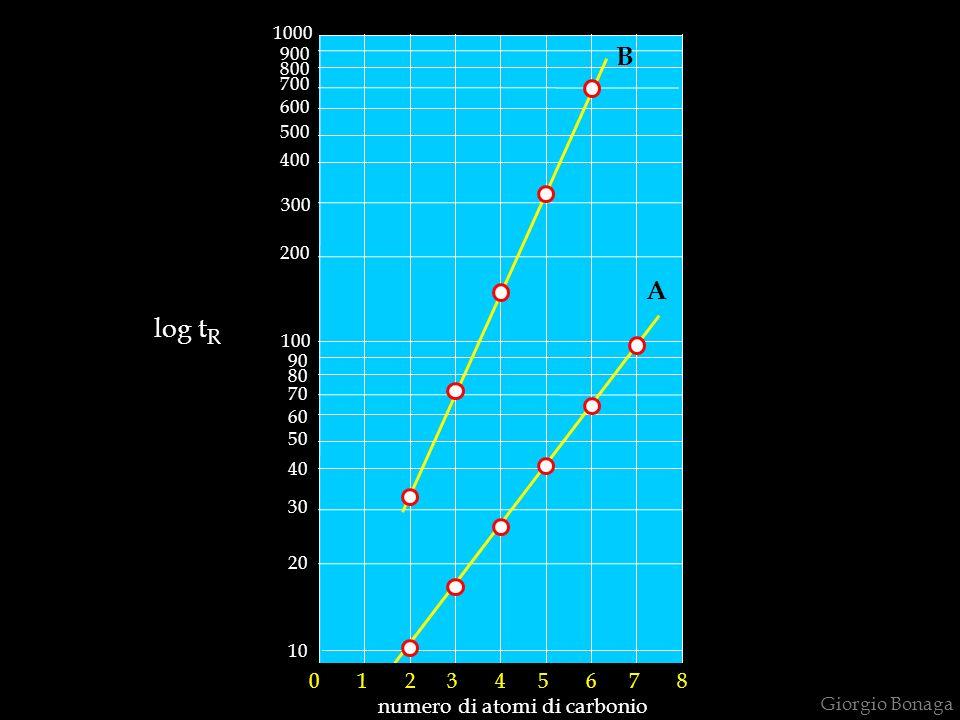 Giorgio Bonaga 1000 900 800 700 600 500 400 300 200 100 90 80 70 60 50 40 30 20 10 0 1 2 3 4 5 6 7 8 numero di atomi di carbonio log t R A B