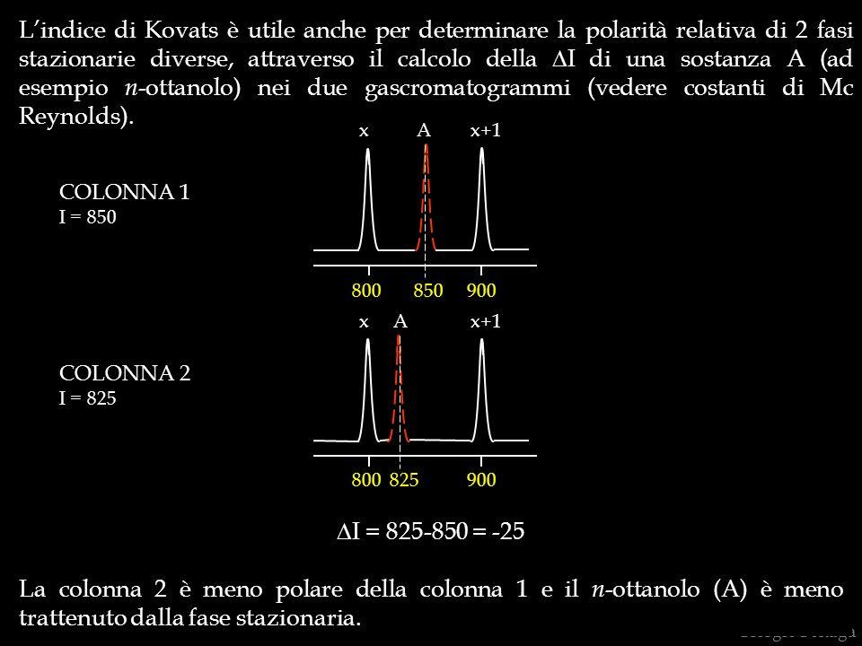 Giorgio Bonaga Lindice di Kovats è utile anche per determinare la polarità relativa di 2 fasi stazionarie diverse, attraverso il calcolo della I di un