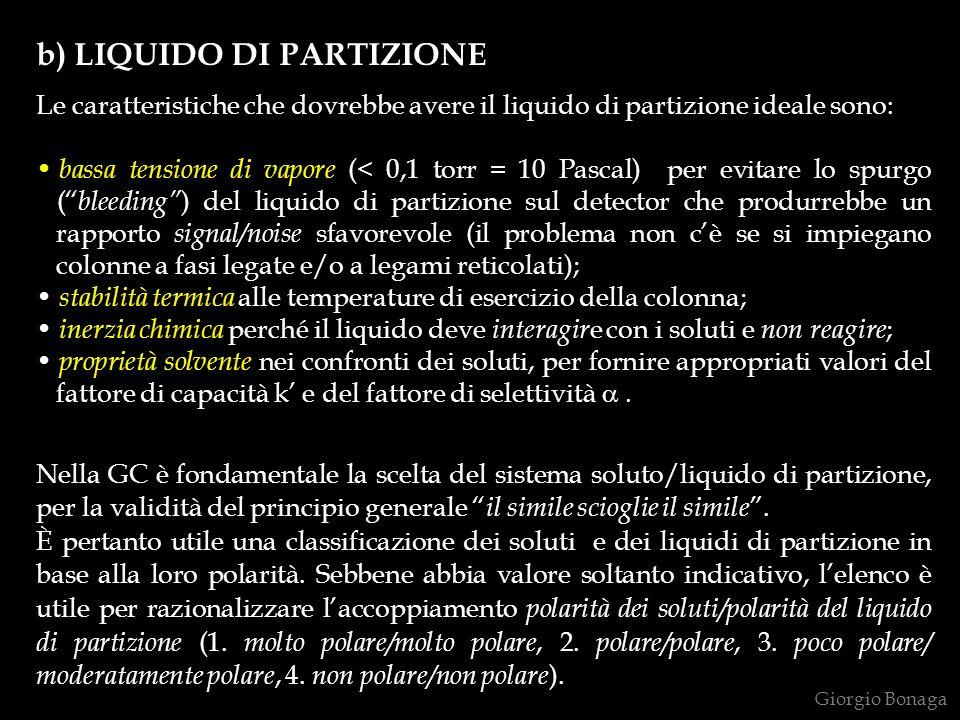 b) LIQUIDO DI PARTIZIONE Le caratteristiche che dovrebbe avere il liquido di partizione ideale sono: bassa tensione di vapore (< 0,1 torr = 10 Pascal)