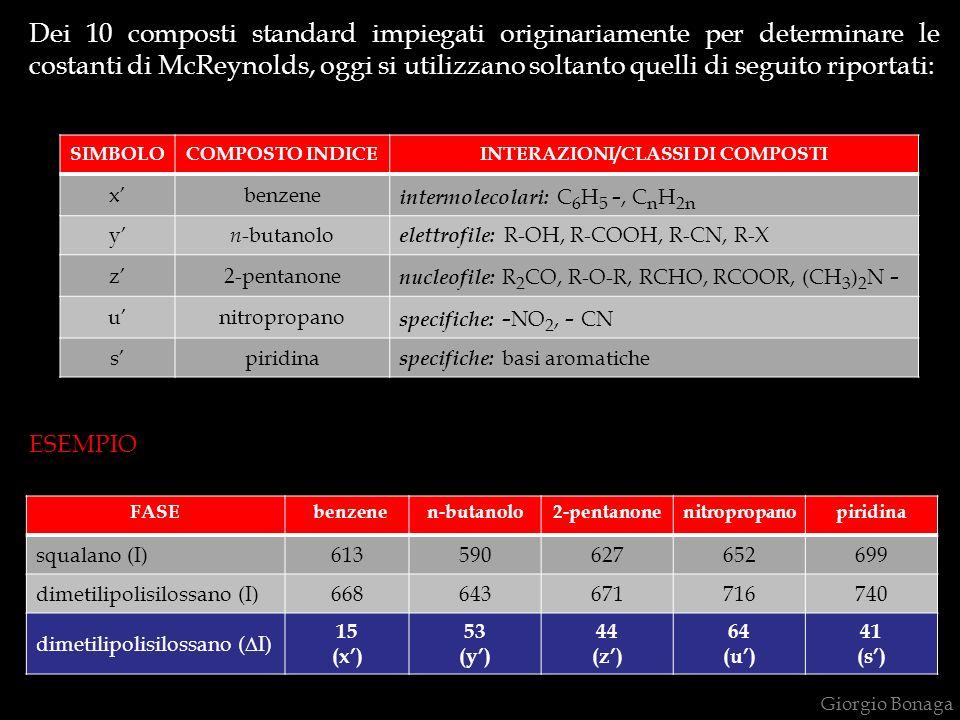 Dei 10 composti standard impiegati originariamente per determinare le costanti di McReynolds, oggi si utilizzano soltanto quelli di seguito riportati:
