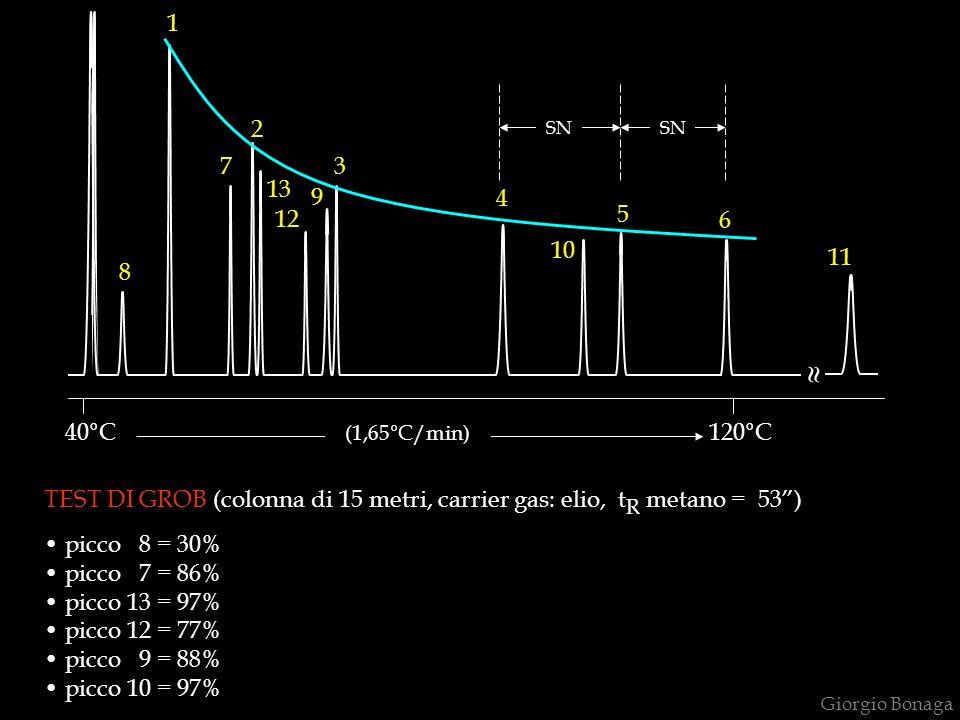 Giorgio Bonaga 8 1 7 2 13 12 9 4 10 5 6 120°C SN 3 40°C (1,65°C/min) 11 TEST DI GROB (colonna di 15 metri, carrier gas: elio, t R metano = 53) picco 8