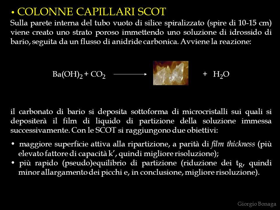 COLONNE CAPILLARI SCOT Sulla parete interna del tubo vuoto di silice spiralizzato (spire di 10-15 cm) viene creato uno strato poroso immettendo uno so