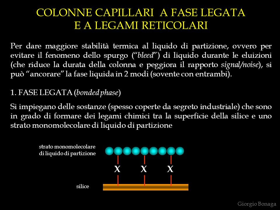 COLONNE CAPILLARI A FASE LEGATA E A LEGAMI RETICOLARI Per dare maggiore stabilità termica al liquido di partizione, ovvero per evitare il fenomeno del