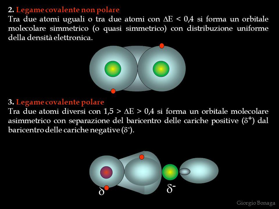 2. Legame covalente non polare Tra due atomi uguali o tra due atomi con E < 0,4 si forma un orbitale molecolare simmetrico (o quasi simmetrico) con di