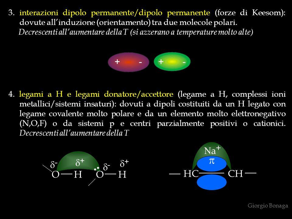4. legami a H e legami donatore/accettore (legame a H, complessi ioni metallici/sistemi insaturi): dovuti a dipoli costituiti da un H legato con legam