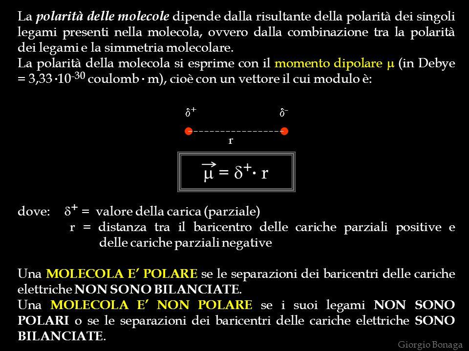 La polarità delle molecole dipende dalla risultante della polarità dei singoli legami presenti nella molecola, ovvero dalla combinazione tra la polari