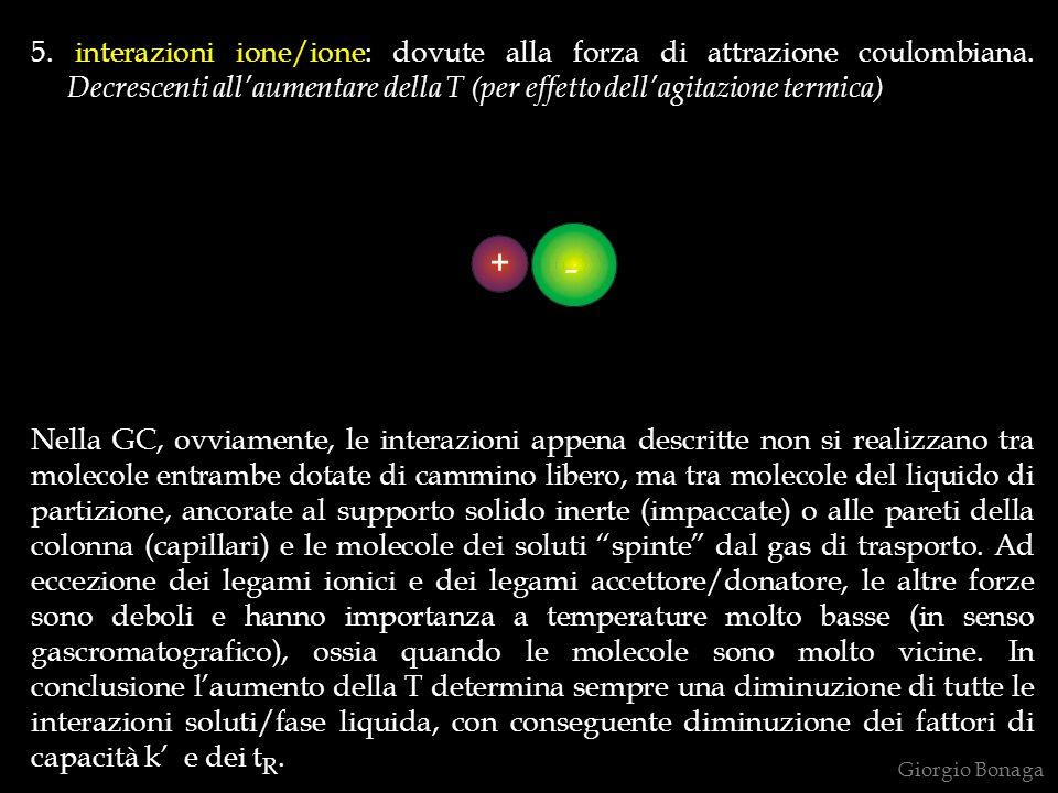 5. interazioni ione/ione: dovute alla forza di attrazione coulombiana. Decrescenti allaumentare della T (per effetto dellagitazione termica) Nella GC,