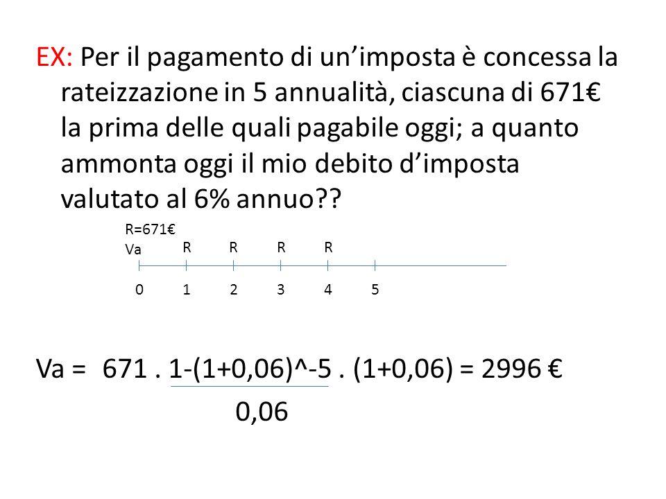 MONTANTE E VALORE ATTUALE DI RENDITA IMMEDIATA TEMPORANEA POSTICIPATA M = R.