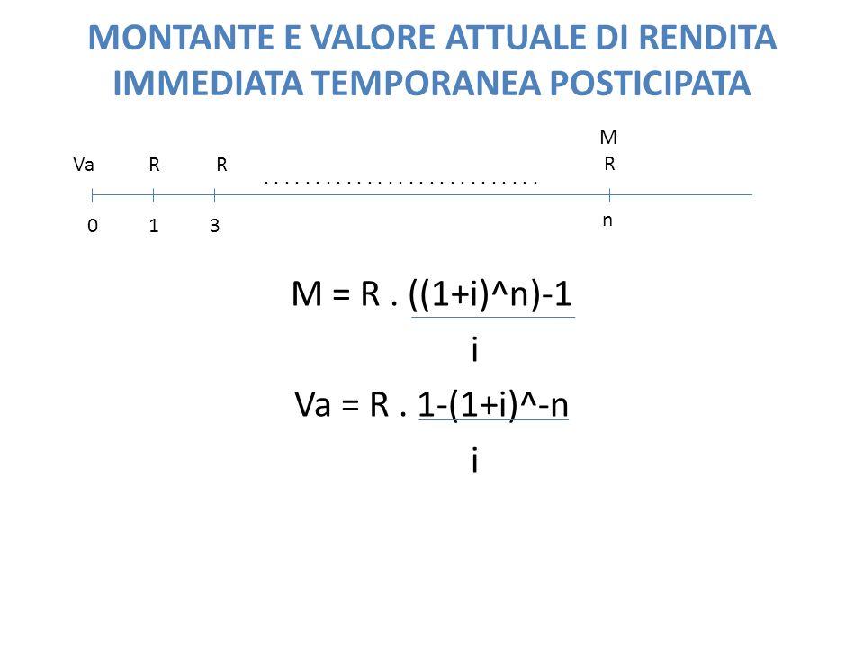 MONTANTE E VALORE ATTUALE DI RENDITA IMMEDIATA TEMPORANEA POSTICIPATA M = R. ((1+i)^n)-1 i Va = R. 1-(1+i)^-n i 01 n 3 VaRR M R.......................