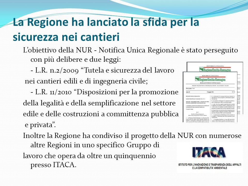 La Regione ha lanciato la sfida per la sicurezza nei cantieri Lobiettivo della NUR - Notifica Unica Regionale è stato perseguito con più delibere e du