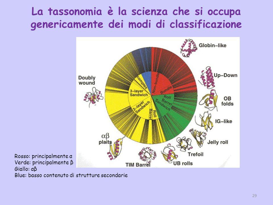 Rosso: principalmente α Verde: principalmente β Giallo: αβ Blue: basso contenuto di strutture secondarie 29