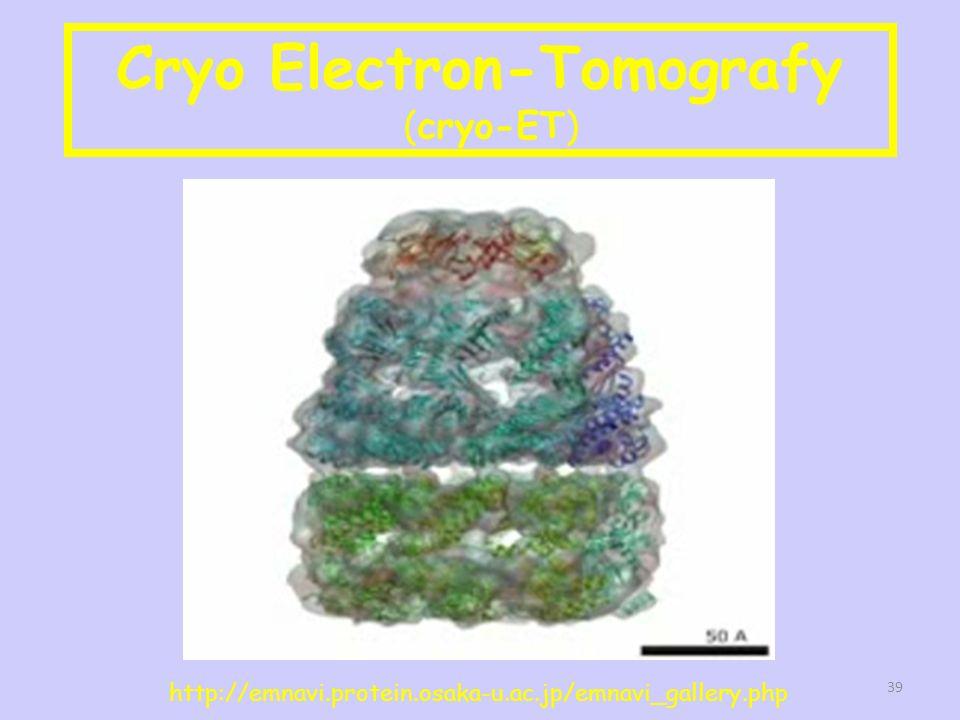 Cryo Electron-Tomografy (cryo-ET) http://emnavi.protein.osaka-u.ac.jp/emnavi_gallery.php 39