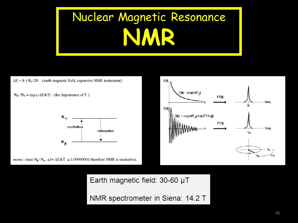 Nuclear Magnetic Resonance NMR Earth magnetic field: 30-60 µT NMR spectrometer in Siena: 14.2 T 46