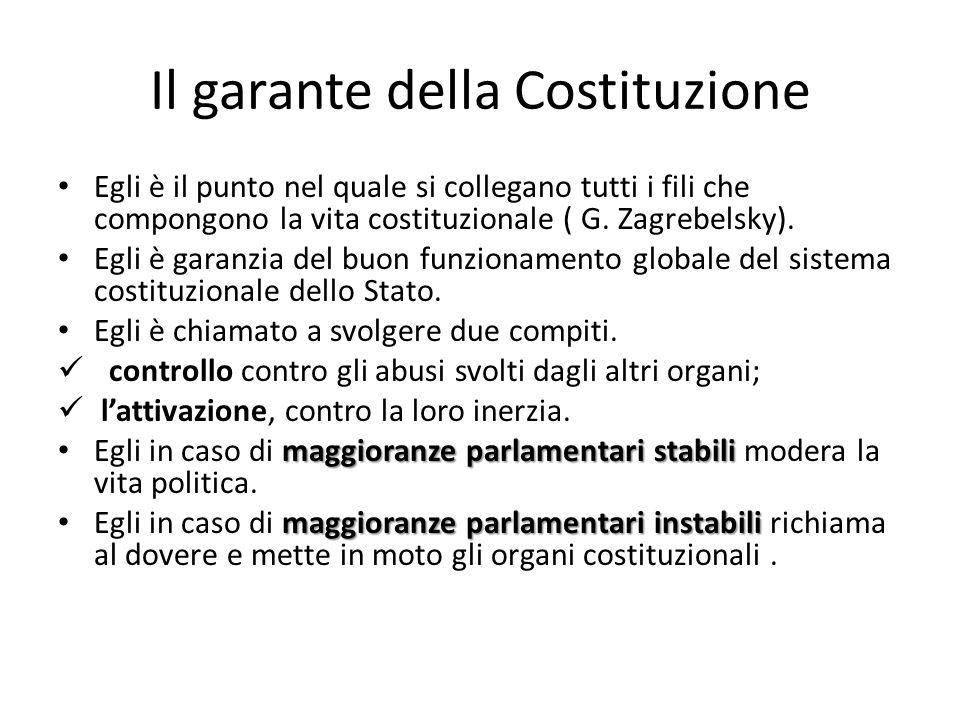 Il garante della Costituzione Egli è il punto nel quale si collegano tutti i fili che compongono la vita costituzionale ( G. Zagrebelsky). Egli è gara