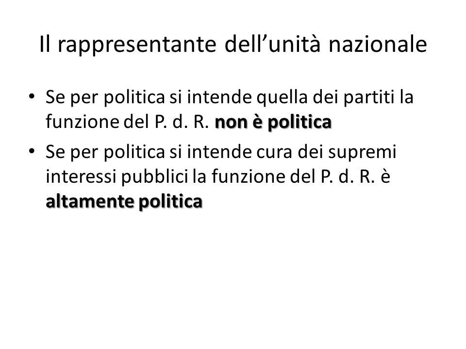 Il rappresentante dellunità nazionale non è politica Se per politica si intende quella dei partiti la funzione del P. d. R. non è politica altamente p