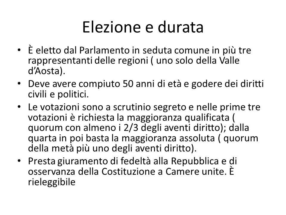 Elezione e durata È eletto dal Parlamento in seduta comune in più tre rappresentanti delle regioni ( uno solo della Valle dAosta). Deve avere compiuto