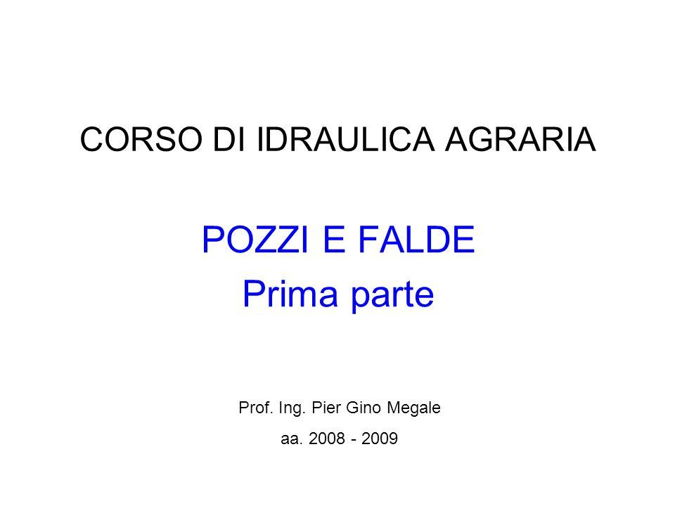 CORSO DI IDRAULICA AGRARIA POZZI E FALDE Prima parte Prof. Ing. Pier Gino Megale aa. 2008 - 2009