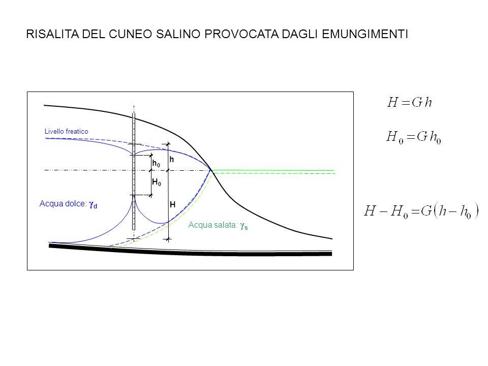 RISALITA DEL CUNEO SALINO PROVOCATA DAGLI EMUNGIMENTI Livello freatico Acqua dolce: d Acqua salata: s H h h0h0 H0H0