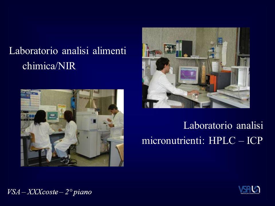 Laboratorio analisi alimenti chimica/NIR Laboratorio analisi micronutrienti: HPLC – ICP VSA – XXXcoste – 2° piano