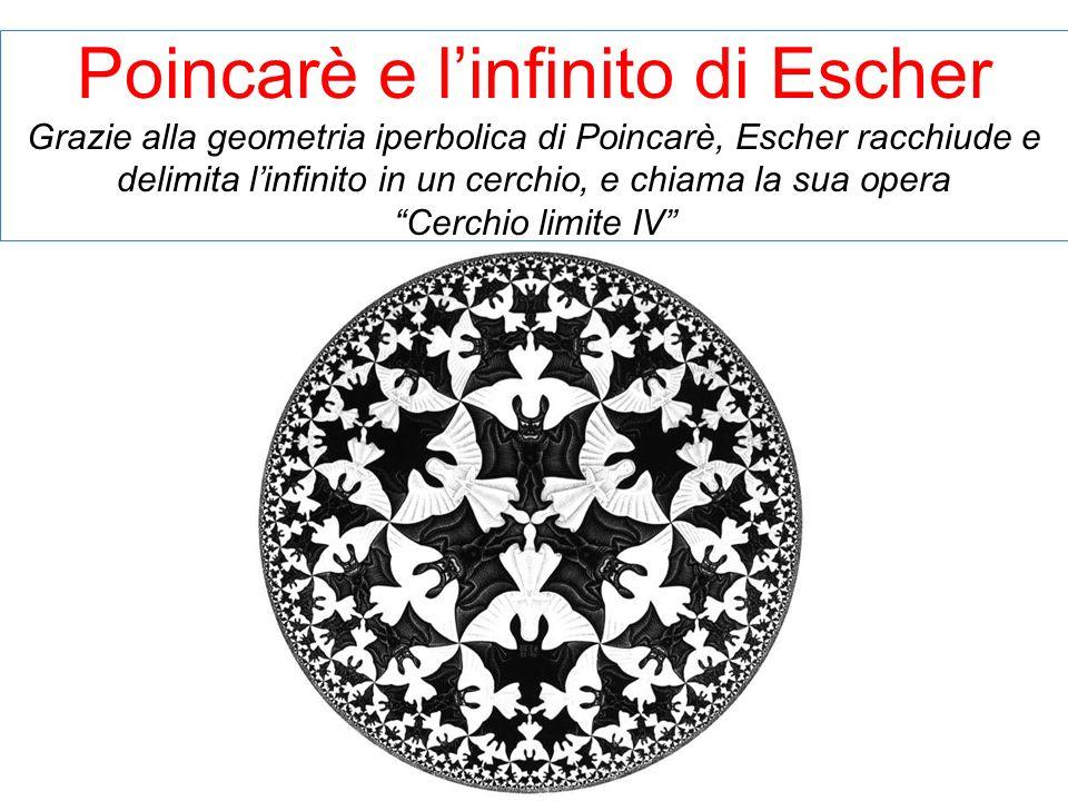 Poincarè e linfinito di Escher Grazie alla geometria iperbolica di Poincarè, Escher racchiude e delimita linfinito in un cerchio, e chiama la sua oper