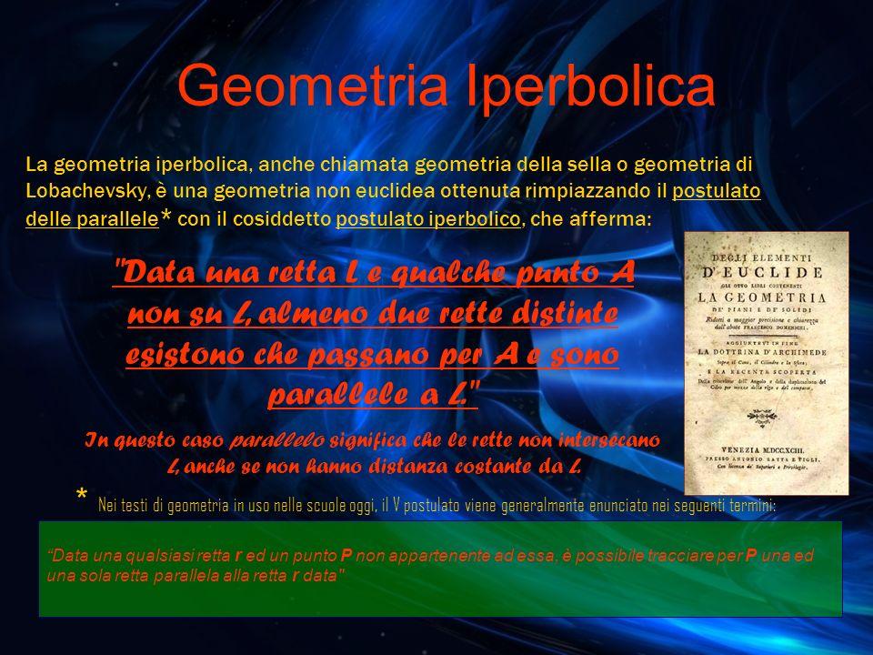 Geometria Iperbolica La geometria iperbolica, anche chiamata geometria della sella o geometria di Lobachevsky, è una geometria non euclidea ottenuta r