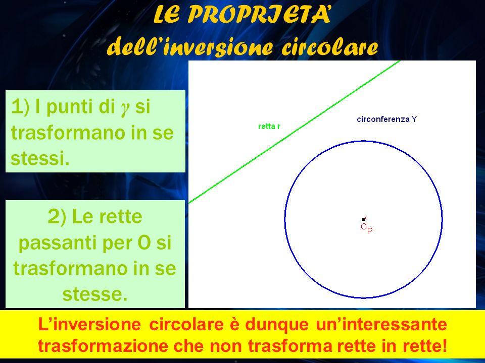 LE PROPRIETA dellinversione circolare 1) I punti di γ si trasformano in se stessi. 2) Le rette passanti per O si trasformano in se stesse. Linversione