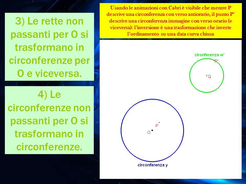 3) Le rette non passanti per O si trasformano in circonferenze per O e viceversa. 4) Le circonferenze non passanti per O si trasformano in circonferen