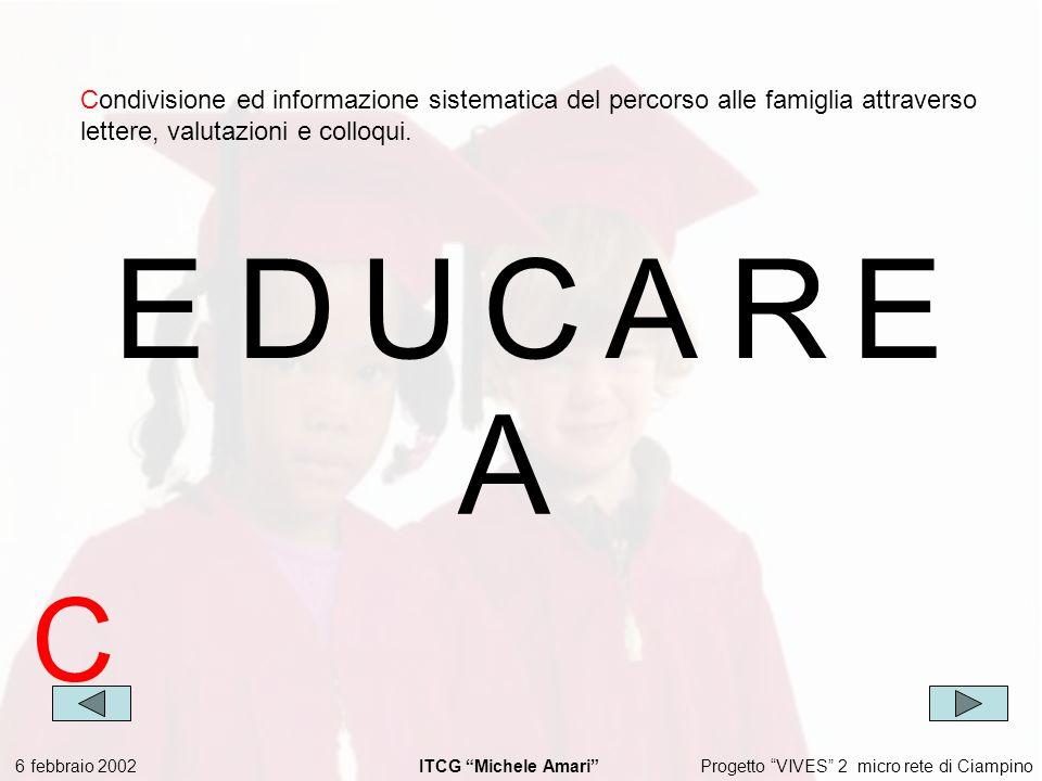 Progetto VIVES 2 micro rete di Ciampino 6 febbraio 2002 ITCG Michele Amari EDUCARE Condivisione ed informazione sistematica del percorso alle famiglia attraverso lettere, valutazioni e colloqui.