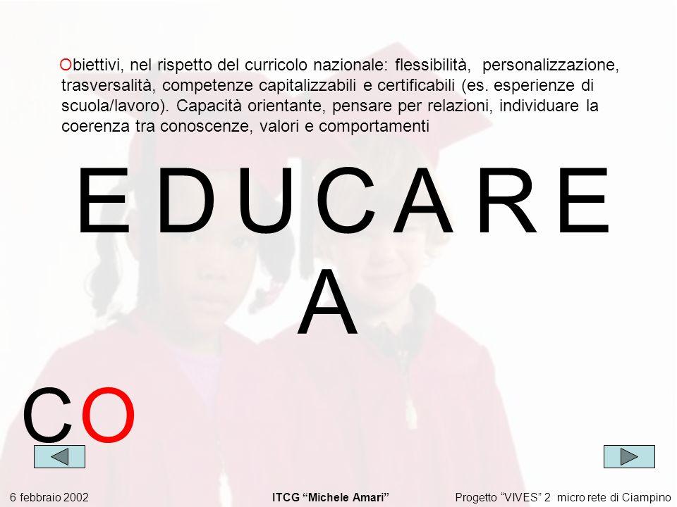Progetto VIVES 2 micro rete di Ciampino 6 febbraio 2002 ITCG Michele Amari EDUCARE Obiettivi, nel rispetto del curricolo nazionale: flessibilità, personalizzazione, trasversalità, competenze capitalizzabili e certificabili (es.