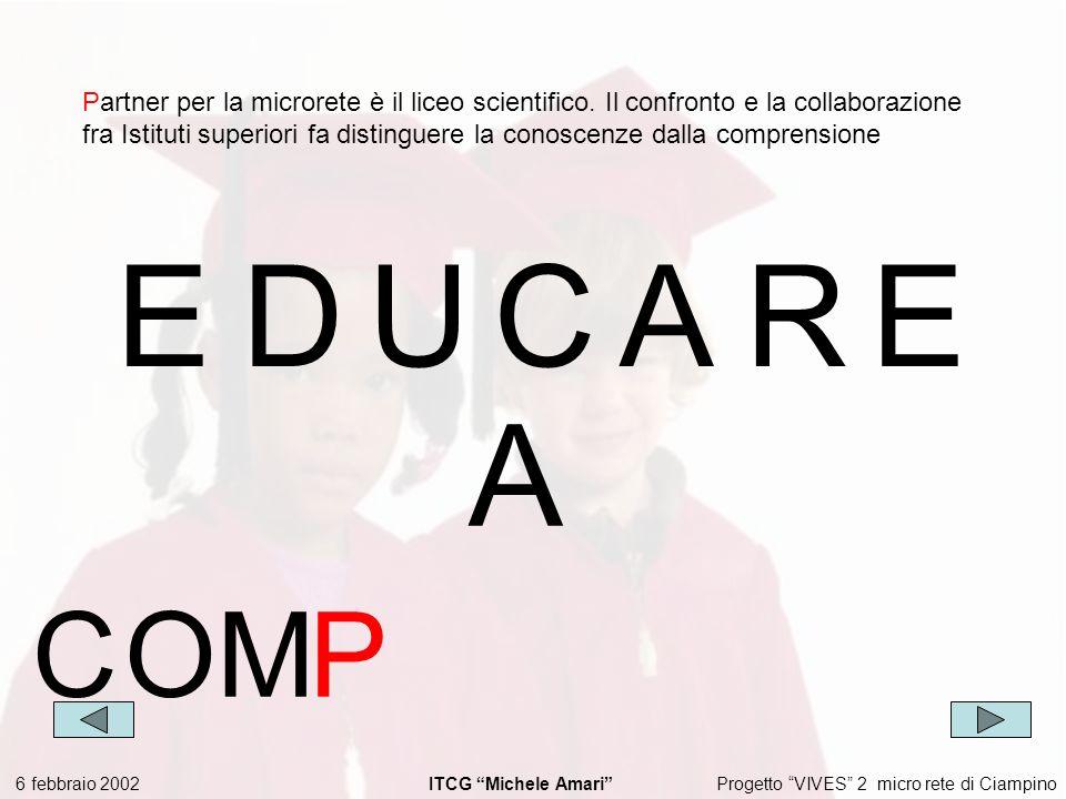 Progetto VIVES 2 micro rete di Ciampino 6 febbraio 2002 ITCG Michele Amari EDUCARE Partner per la microrete è il liceo scientifico.