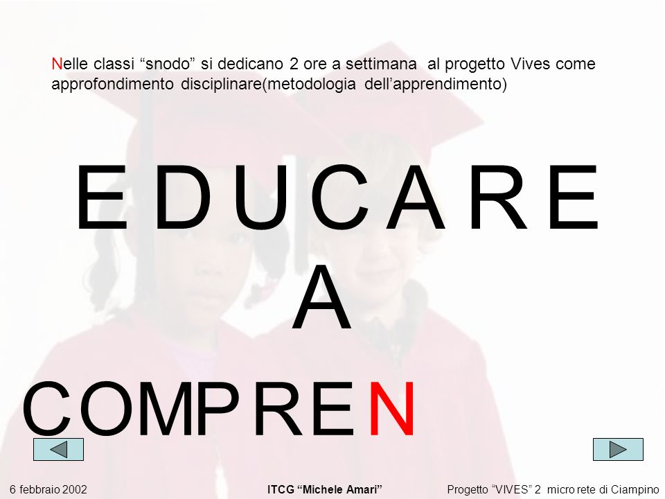 Progetto VIVES 2 micro rete di Ciampino 6 febbraio 2002 ITCG Michele Amari EDUCARE Nelle classi snodo si dedicano 2 ore a settimana al progetto Vives come approfondimento disciplinare(metodologia dellapprendimento) A COMPRE N