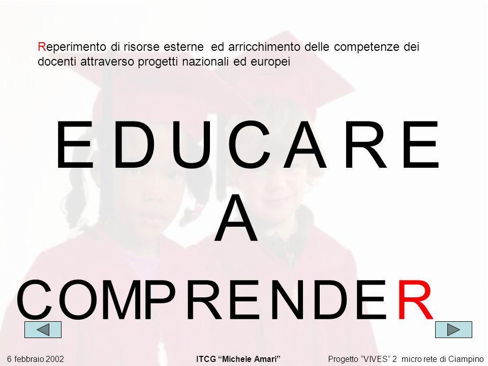 Progetto VIVES 2 micro rete di Ciampino 6 febbraio 2002 ITCG Michele Amari EDUCARE Reperimento di risorse esterne ed arricchimento delle competenze dei docenti attraverso progetti nazionali ed europei A COMPRENDE R